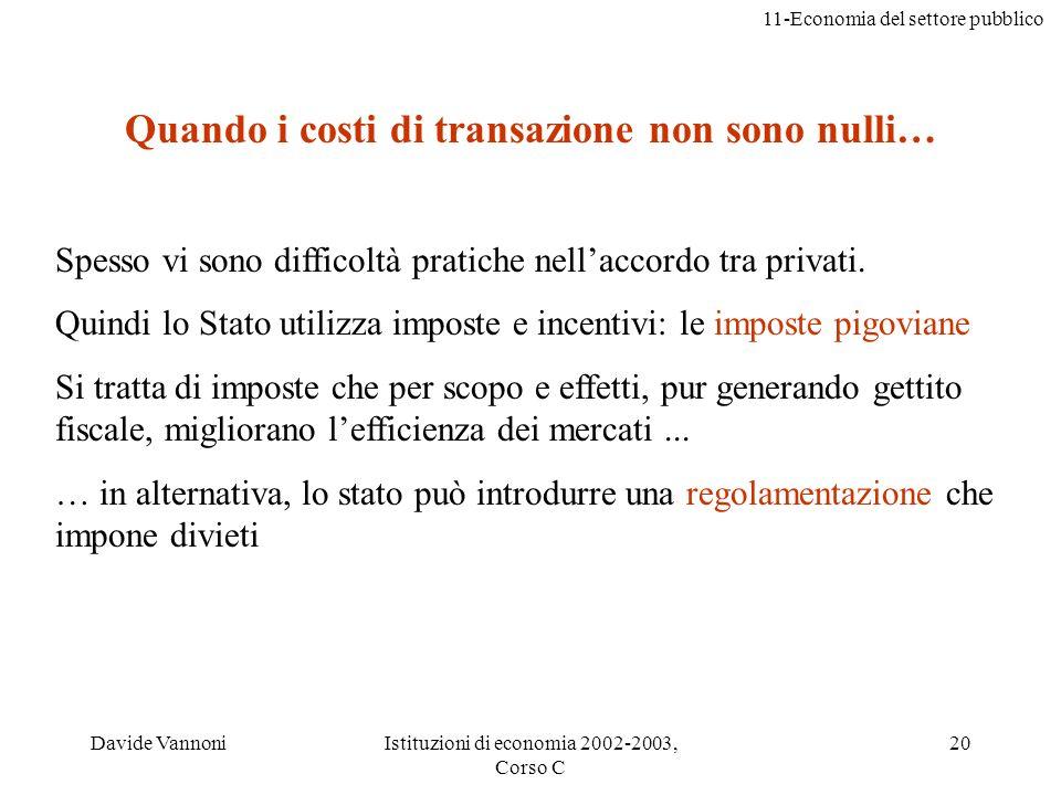 11-Economia del settore pubblico Davide VannoniIstituzioni di economia 2002-2003, Corso C 20 Quando i costi di transazione non sono nulli… Spesso vi s
