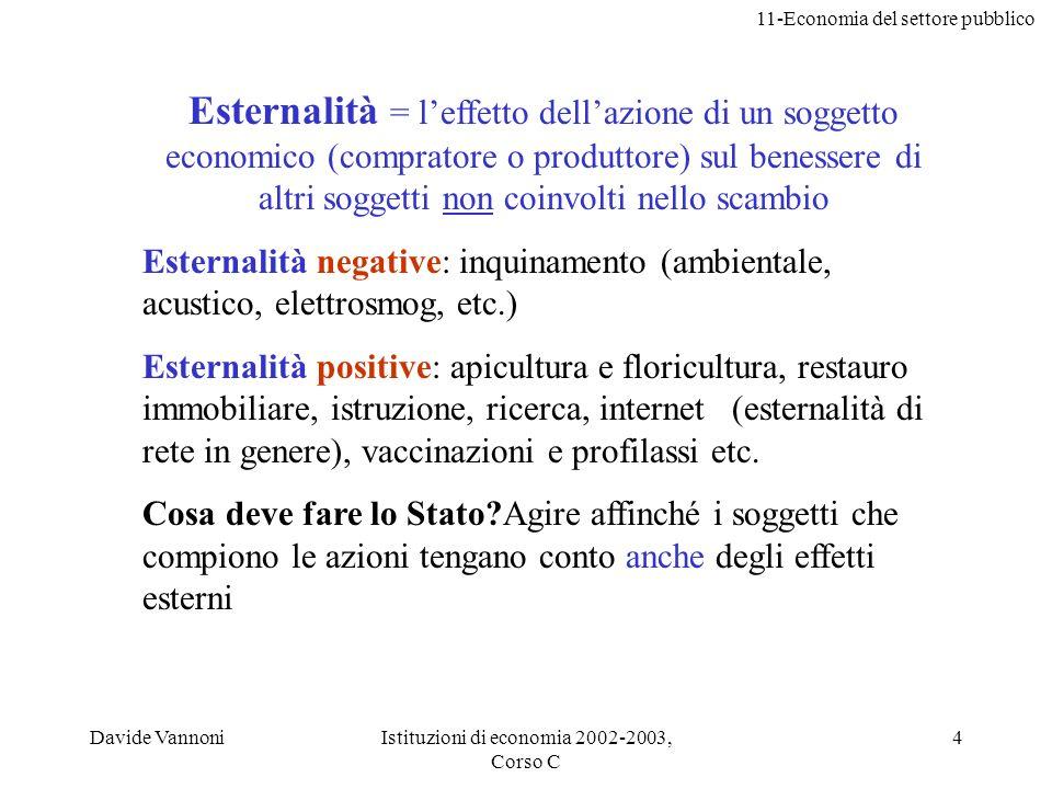 11-Economia del settore pubblico Davide VannoniIstituzioni di economia 2002-2003, Corso C 4 Esternalità = leffetto dellazione di un soggetto economico