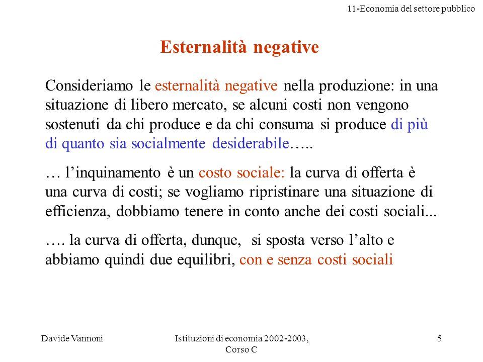 11-Economia del settore pubblico Davide VannoniIstituzioni di economia 2002-2003, Corso C 5 Consideriamo le esternalità negative nella produzione: in