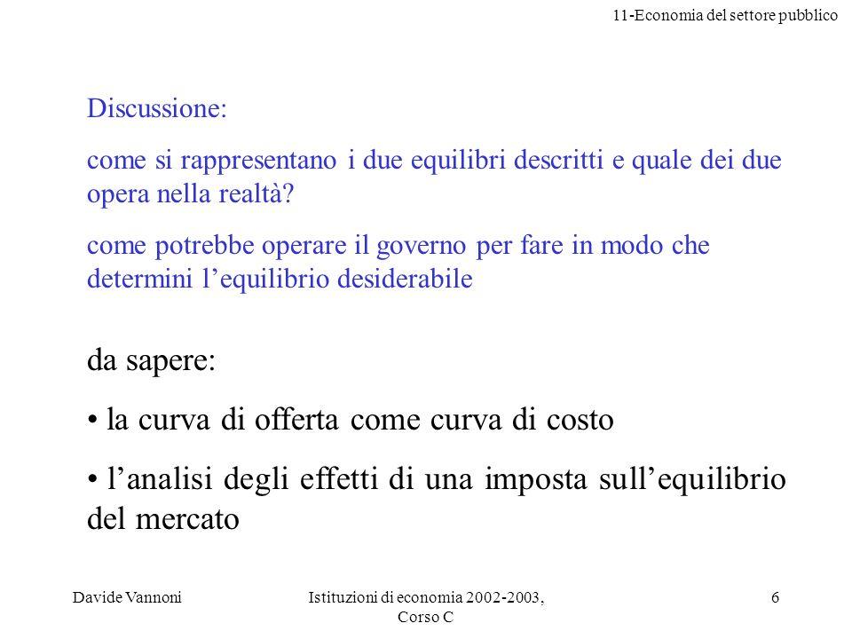 11-Economia del settore pubblico Davide VannoniIstituzioni di economia 2002-2003, Corso C 6 Discussione: come si rappresentano i due equilibri descrit