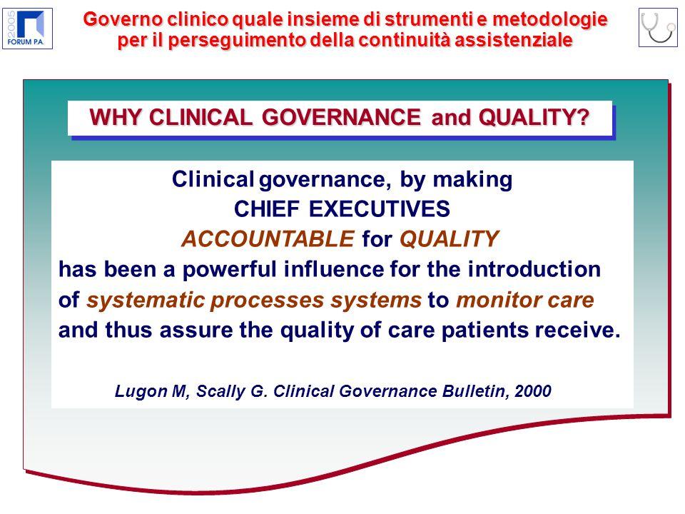Governo clinico quale insieme di strumenti e metodologie per il perseguimento della continuità assistenziale WHY CLINICAL GOVERNANCE and QUALITY.