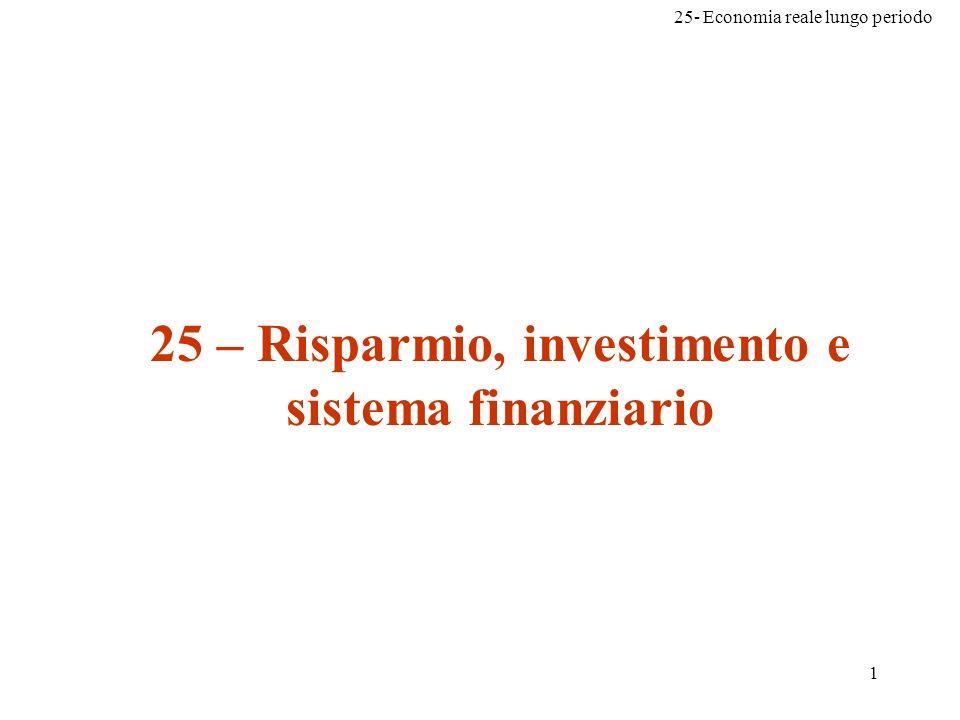 25- Economia reale lungo periodo 1 25 – Risparmio, investimento e sistema finanziario