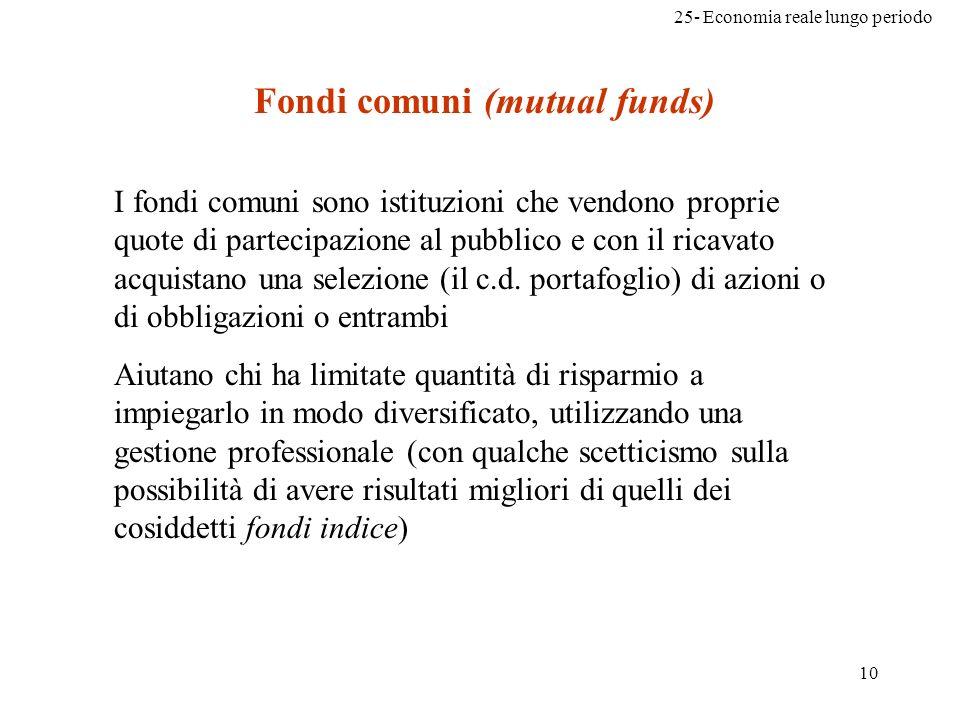 25- Economia reale lungo periodo 10 Fondi comuni (mutual funds) I fondi comuni sono istituzioni che vendono proprie quote di partecipazione al pubblic