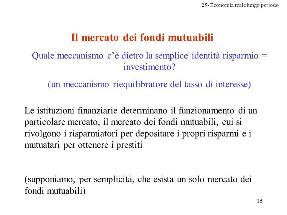 25- Economia reale lungo periodo 16 Quale meccanismo cè dietro la semplice identità risparmio = investimento? (un meccanismo riequilibratore del tasso