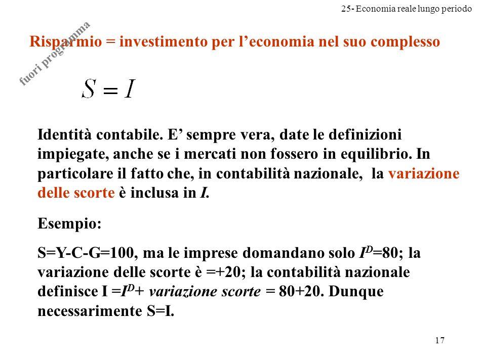 25- Economia reale lungo periodo 17 Risparmio = investimento per leconomia nel suo complesso Identità contabile. E sempre vera, date le definizioni im