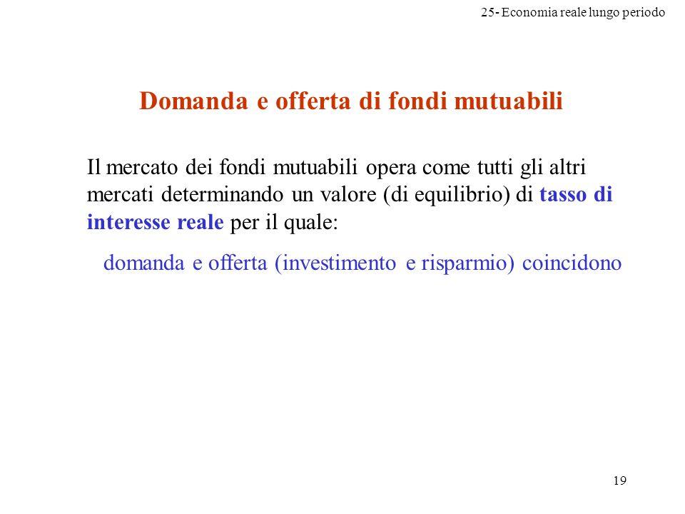 25- Economia reale lungo periodo 19 Il mercato dei fondi mutuabili opera come tutti gli altri mercati determinando un valore (di equilibrio) di tasso