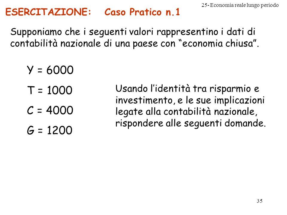25- Economia reale lungo periodo 35 ESERCITAZIONE: Caso Pratico n.1 Supponiamo che i seguenti valori rappresentino i dati di contabilità nazionale di
