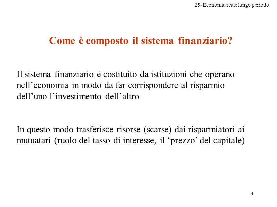 25- Economia reale lungo periodo 4 Come è composto il sistema finanziario? Il sistema finanziario è costituito da istituzioni che operano nelleconomia