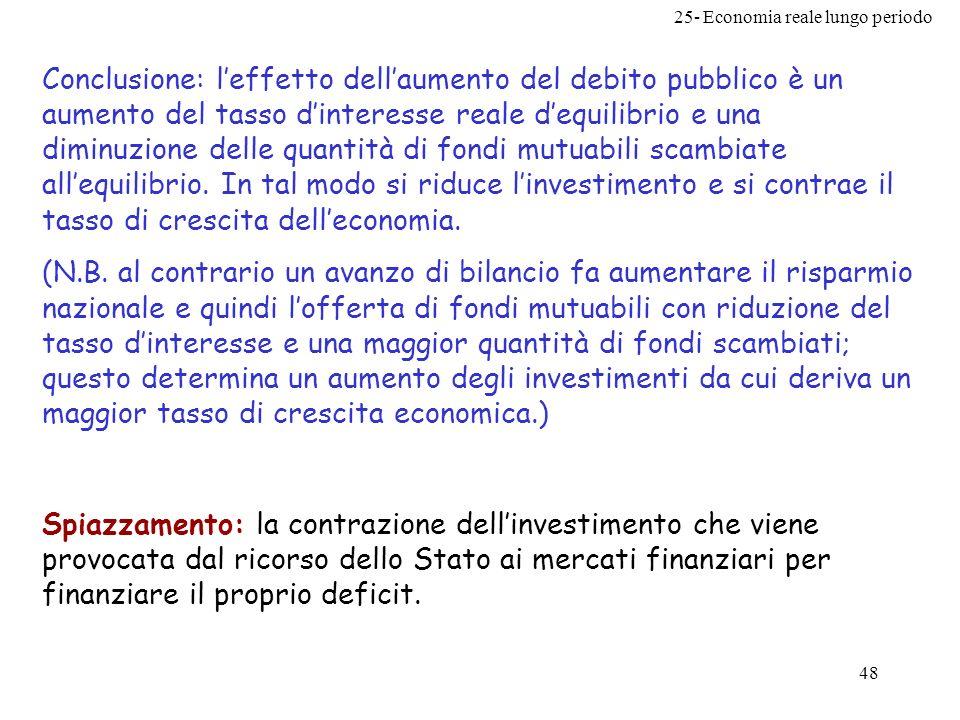 25- Economia reale lungo periodo 48 Conclusione: leffetto dellaumento del debito pubblico è un aumento del tasso dinteresse reale dequilibrio e una di
