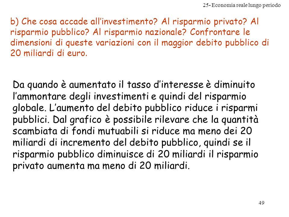 25- Economia reale lungo periodo 49 b) Che cosa accade allinvestimento? Al risparmio privato? Al risparmio pubblico? Al risparmio nazionale? Confronta