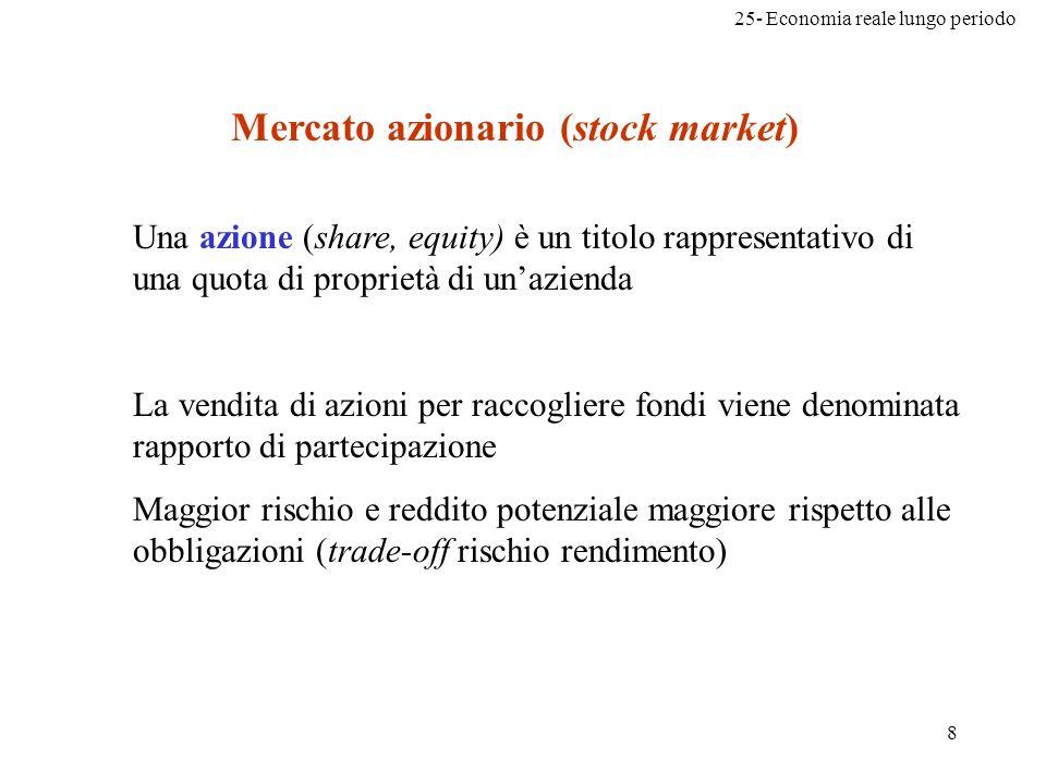 25- Economia reale lungo periodo 8 Mercato azionario (stock market) Una azione (share, equity) è un titolo rappresentativo di una quota di proprietà d
