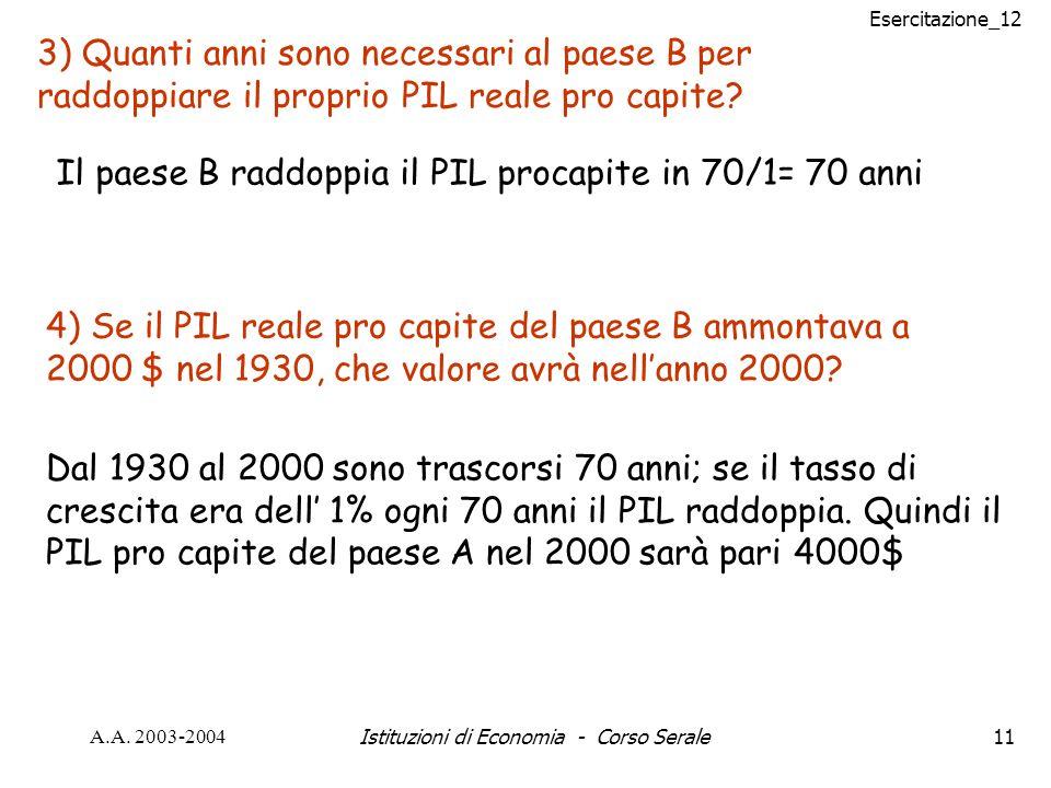 Esercitazione_12 A.A. 2003-2004Istituzioni di Economia - Corso Serale11 3) Quanti anni sono necessari al paese B per raddoppiare il proprio PIL reale