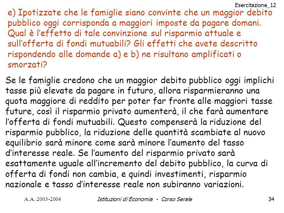 Esercitazione_12 A.A. 2003-2004Istituzioni di Economia - Corso Serale34 e) Ipotizzate che le famiglie siano convinte che un maggior debito pubblico og