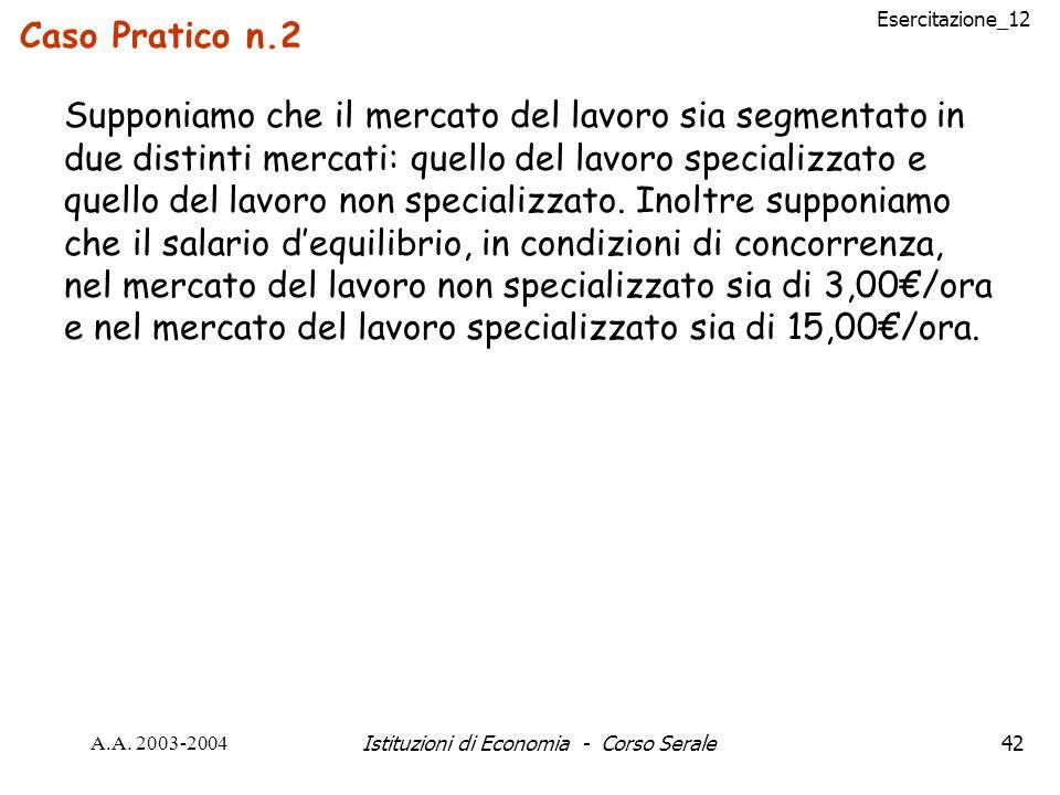 Esercitazione_12 A.A. 2003-2004Istituzioni di Economia - Corso Serale42 Caso Pratico n.2 Supponiamo che il mercato del lavoro sia segmentato in due di