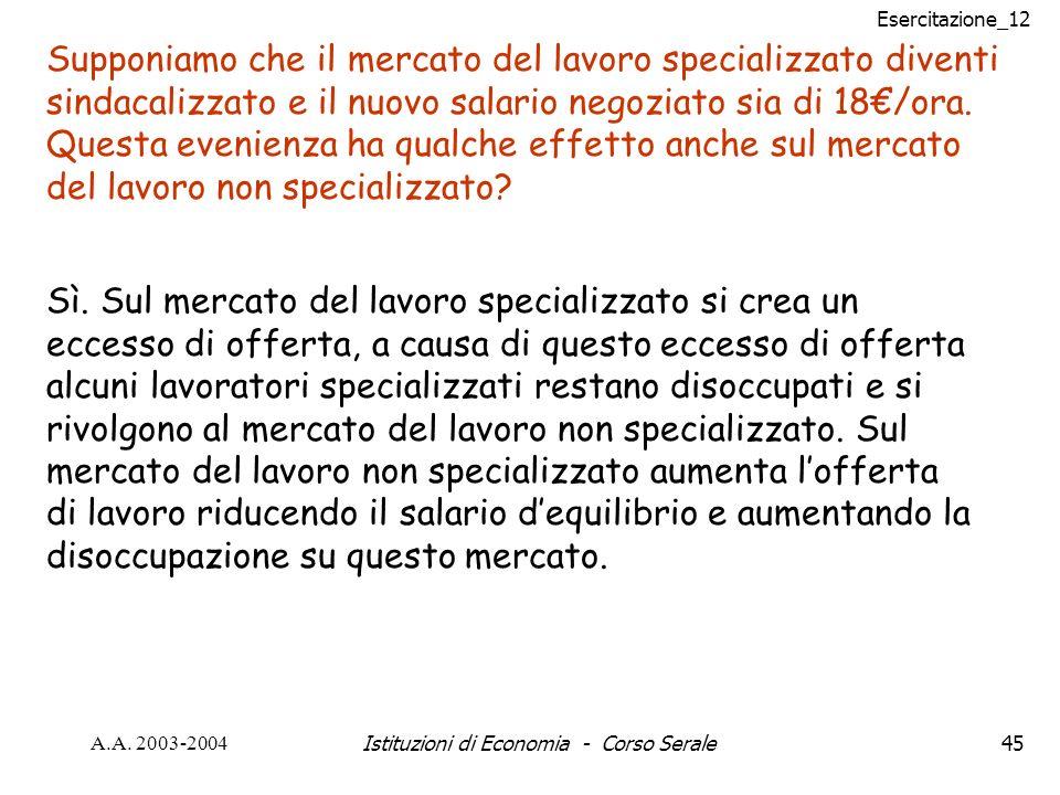 Esercitazione_12 A.A. 2003-2004Istituzioni di Economia - Corso Serale45 Supponiamo che il mercato del lavoro specializzato diventi sindacalizzato e il