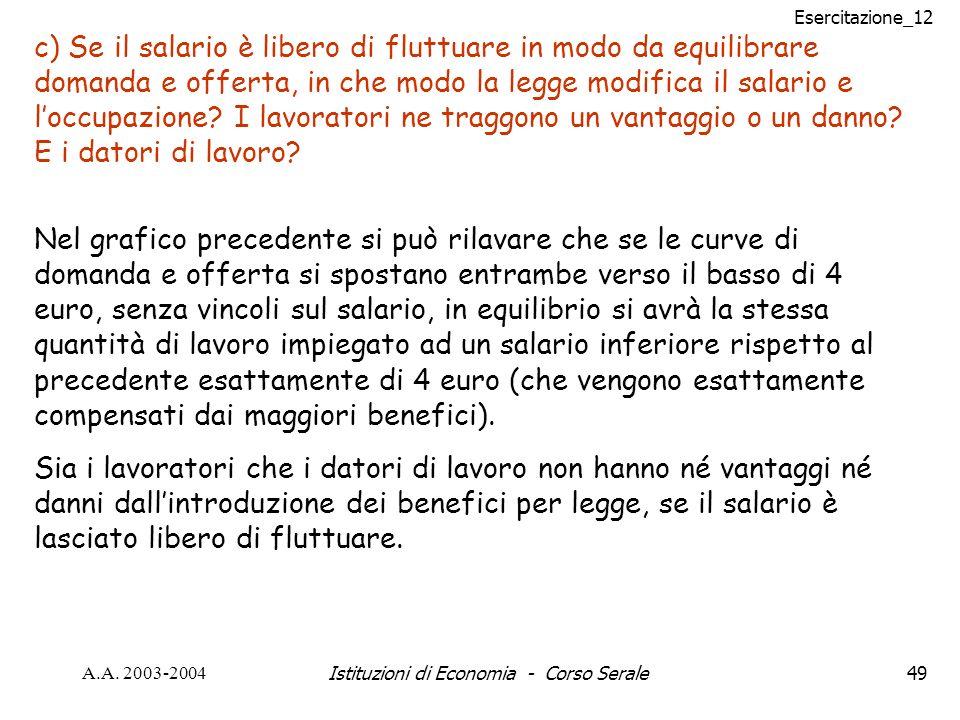 Esercitazione_12 A.A. 2003-2004Istituzioni di Economia - Corso Serale49 c) Se il salario è libero di fluttuare in modo da equilibrare domanda e offert