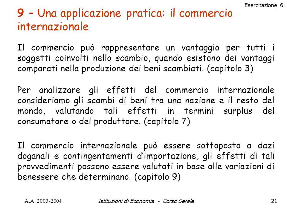 Esercitazione_6 A.A. 2003-2004Istituzioni di Economia - Corso Serale21 9 – Una applicazione pratica: il commercio internazionale Il commercio può rapp