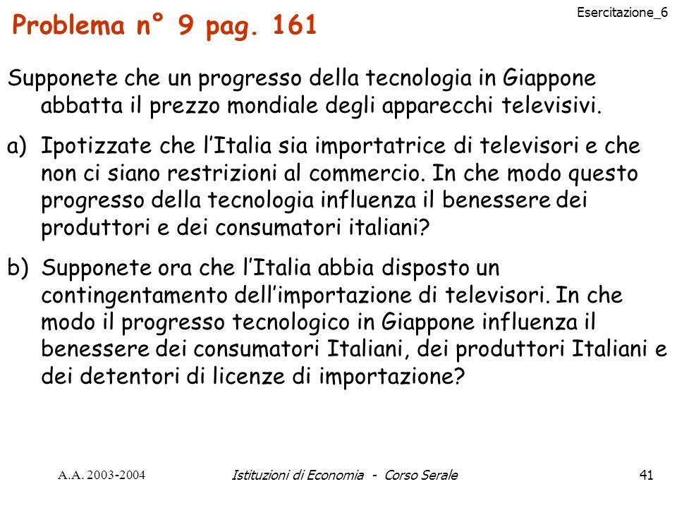 Esercitazione_6 A.A.2003-2004Istituzioni di Economia - Corso Serale41 Problema n° 9 pag.