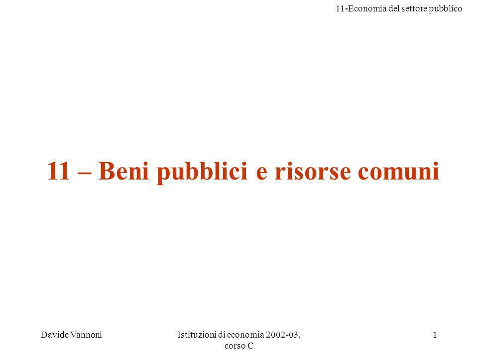 11-Economia del settore pubblico Davide VannoniIstituzioni di economia 2002-03, corso C 1 11 – Beni pubblici e risorse comuni