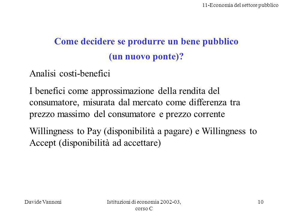 11-Economia del settore pubblico Davide VannoniIstituzioni di economia 2002-03, corso C 10 Come decidere se produrre un bene pubblico (un nuovo ponte).