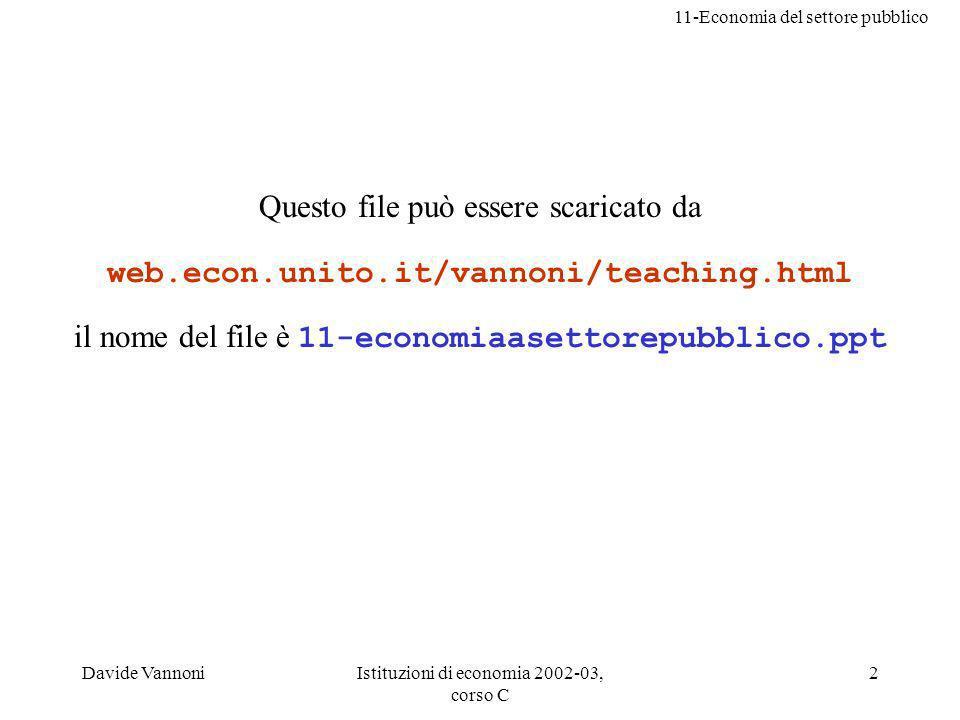 11-Economia del settore pubblico Davide VannoniIstituzioni di economia 2002-03, corso C 2 Questo file può essere scaricato da web.econ.unito.it/vannoni/teaching.html il nome del file è 11-economiaasettorepubblico.ppt