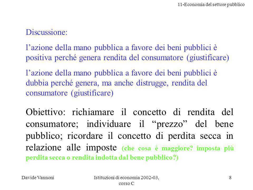 11-Economia del settore pubblico Davide VannoniIstituzioni di economia 2002-03, corso C 8 Discussione: lazione della mano pubblica a favore dei beni p