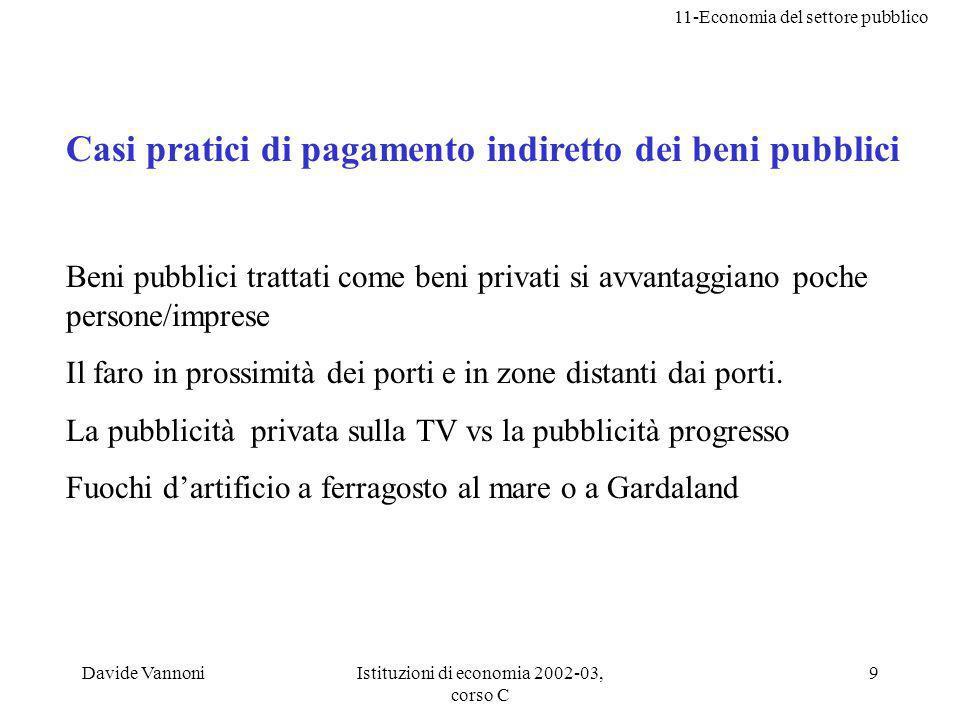 11-Economia del settore pubblico Davide VannoniIstituzioni di economia 2002-03, corso C 9 Casi pratici di pagamento indiretto dei beni pubblici Beni p