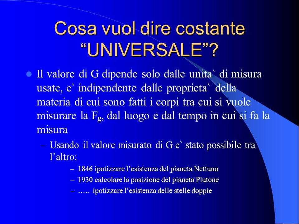Cosa vuol dire costante UNIVERSALE? Il valore di G dipende solo dalle unita` di misura usate, e` indipendente dalle proprieta` della materia di cui so
