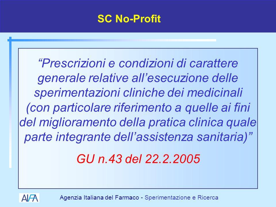 Agenzia Italiana del Farmaco - Sperimentazione e Ricerca Farmaci Monitoraggio Assicurazione Tariffe SC no profit