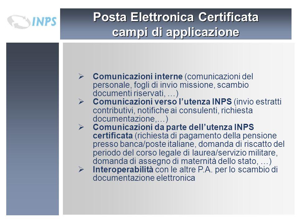 Posta Elettronica Certificata campi di applicazione Comunicazioni interne (comunicazioni del personale, fogli di invio missione, scambio documenti ris