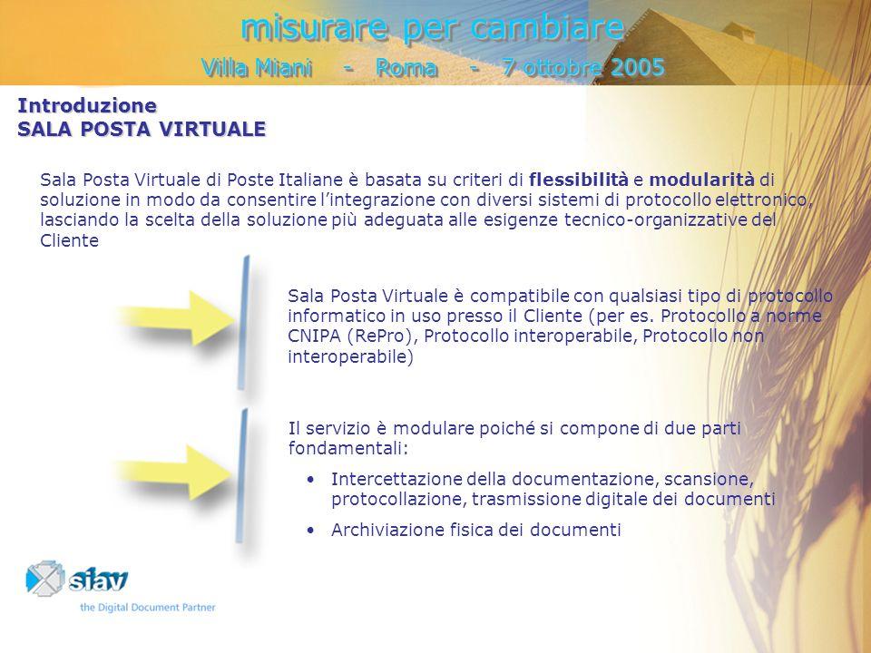 misurare per cambiare Villa Miani - Roma - 7 ottobre 2005 misurare per cambiare Villa Miani - Roma - 7 ottobre 2005 Introduzione SALA POSTA VIRTUALE Sala Posta Virtuale è compatibile con qualsiasi tipo di protocollo informatico in uso presso il Cliente (per es.