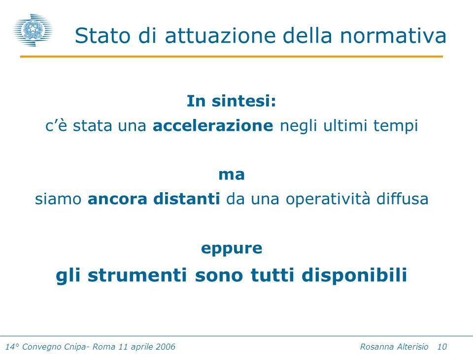 14° Convegno Cnipa- Roma 11 aprile 2006 Rosanna Alterisio 10 In sintesi: cè stata una accelerazione negli ultimi tempi ma siamo ancora distanti da una operatività diffusa eppure gli strumenti sono tutti disponibili Stato di attuazione della normativa