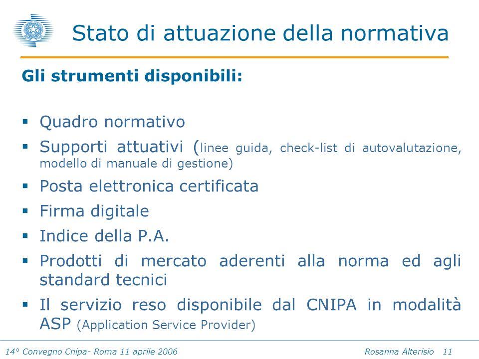 14° Convegno Cnipa- Roma 11 aprile 2006 Rosanna Alterisio 11 Gli strumenti disponibili: Quadro normativo Supporti attuativi ( linee guida, check-list di autovalutazione, modello di manuale di gestione) Posta elettronica certificata Firma digitale Indice della P.A.