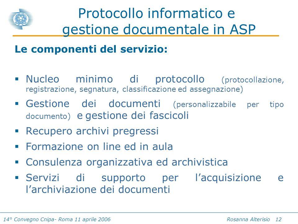 14° Convegno Cnipa- Roma 11 aprile 2006 Rosanna Alterisio 12 Protocollo informatico e gestione documentale in ASP Le componenti del servizio: Nucleo m