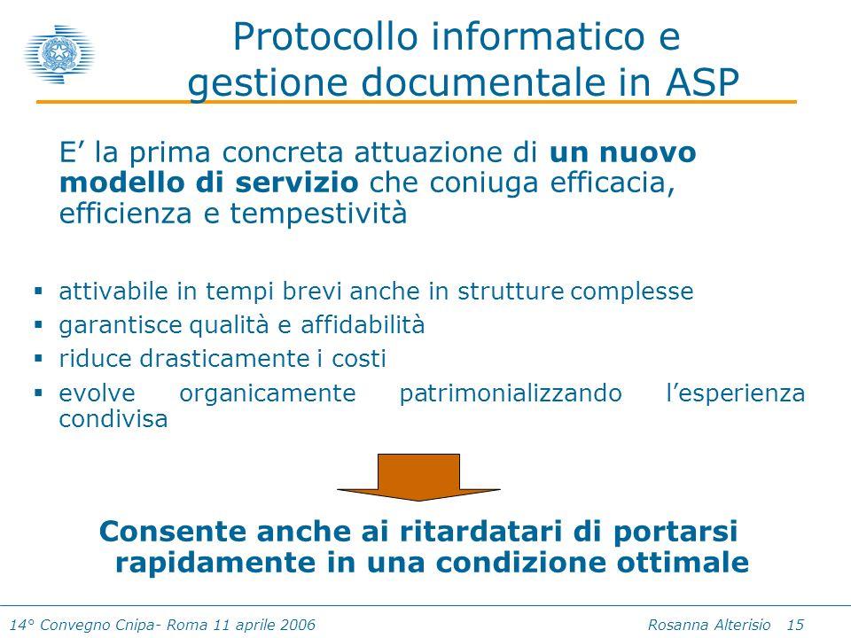 14° Convegno Cnipa- Roma 11 aprile 2006 Rosanna Alterisio 15 Protocollo informatico e gestione documentale in ASP E la prima concreta attuazione di un