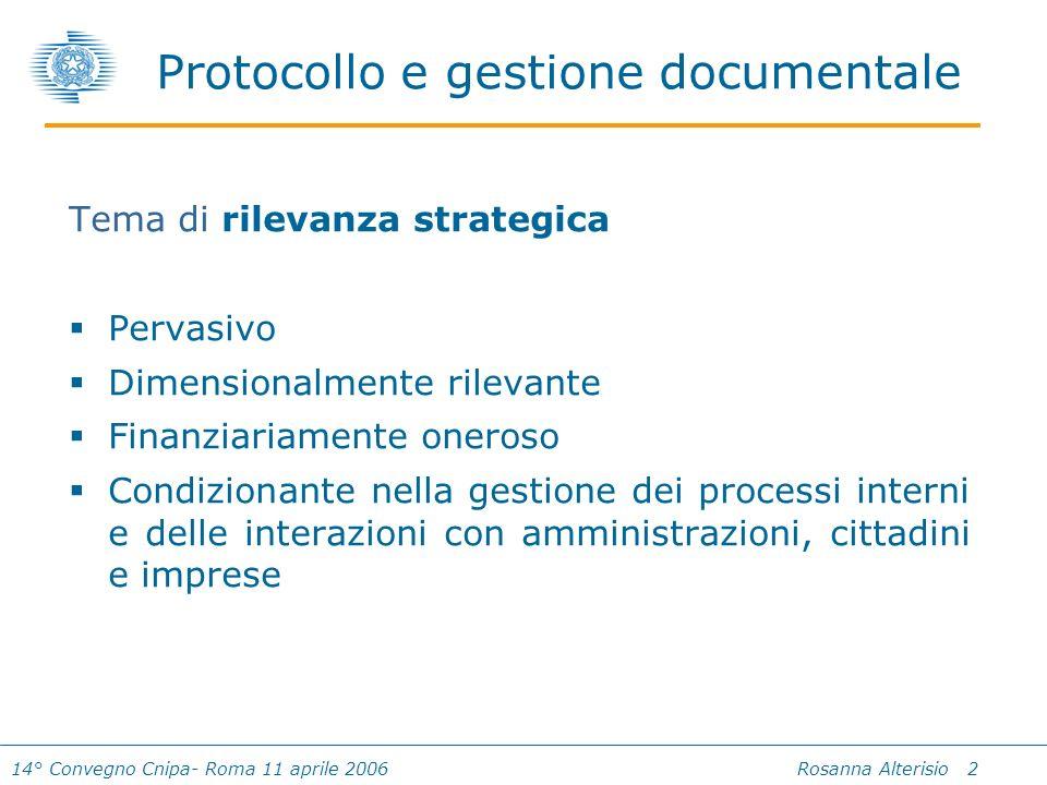 14° Convegno Cnipa- Roma 11 aprile 2006 Rosanna Alterisio 2 Protocollo e gestione documentale Tema di rilevanza strategica Pervasivo Dimensionalmente