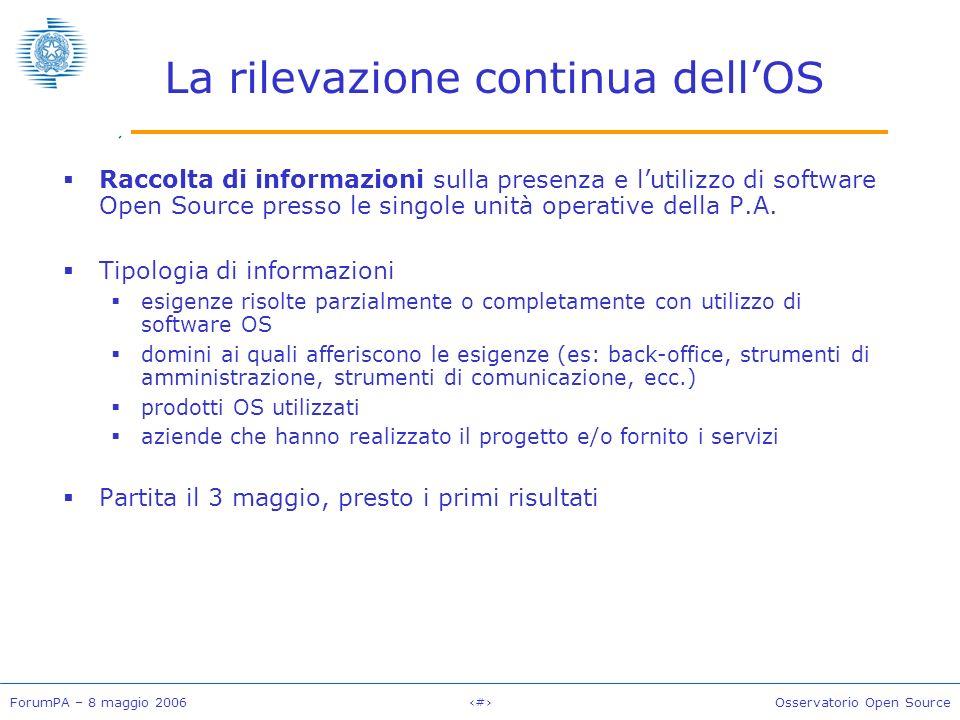 ForumPA – 8 maggio 2006#Osservatorio Open Source La rilevazione continua dellOS Raccolta di informazioni sulla presenza e lutilizzo di software Open Source presso le singole unità operative della P.A.