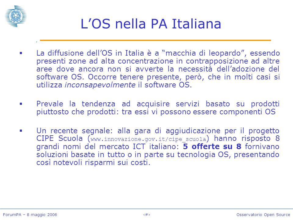 ForumPA – 8 maggio 2006#Osservatorio Open Source LOS nella PA Italiana La diffusione dellOS in Italia è a macchia di leopardo, essendo presenti zone ad alta concentrazione in contrapposizione ad altre aree dove ancora non si avverte la necessità delladozione del software OS.