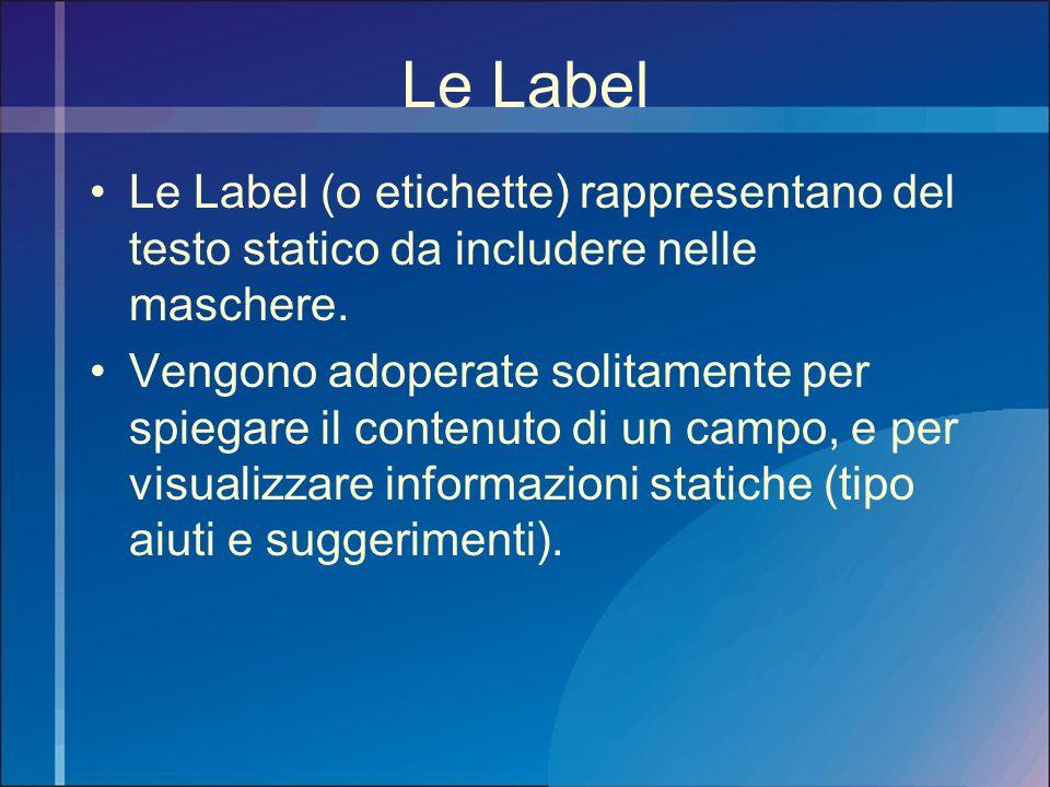 Le Label Le Label (o etichette) rappresentano del testo statico da includere nelle maschere. Vengono adoperate solitamente per spiegare il contenuto d