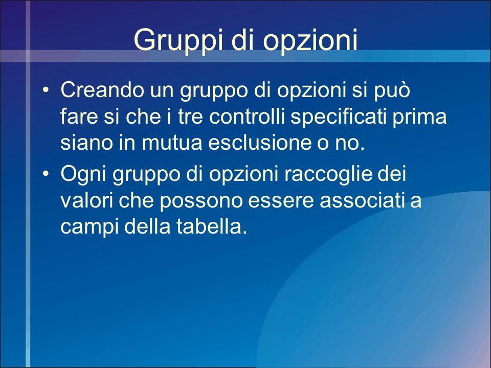 Gruppi di opzioni Creando un gruppo di opzioni si può fare si che i tre controlli specificati prima siano in mutua esclusione o no. Ogni gruppo di opz