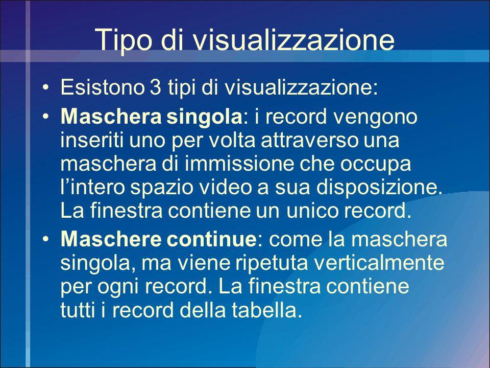 Tipo di visualizzazione Esistono 3 tipi di visualizzazione: Maschera singola: i record vengono inseriti uno per volta attraverso una maschera di immis