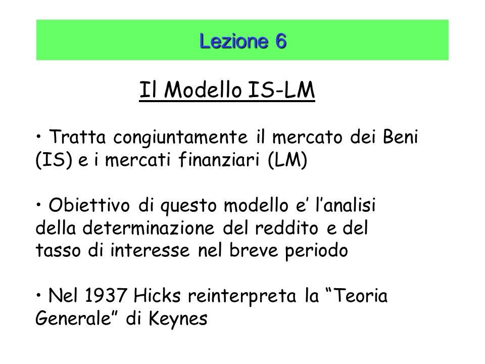 Lezione 6 Il Modello IS-LM Tratta congiuntamente il mercato dei Beni (IS) e i mercati finanziari (LM) Obiettivo di questo modello e lanalisi della det