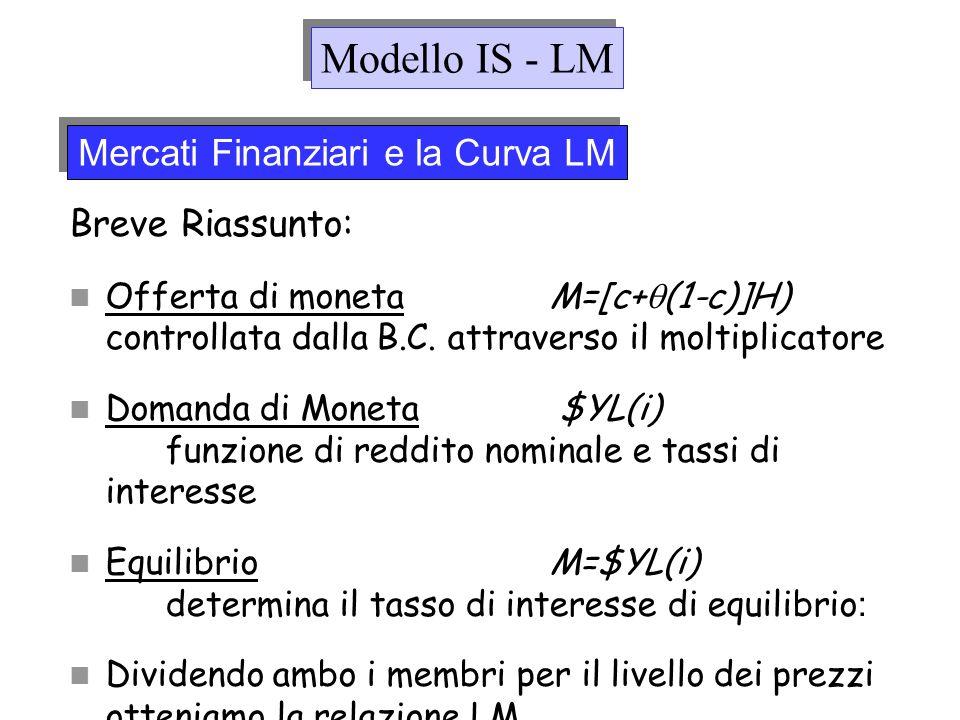 Modello IS - LM Mercati Finanziari e la Curva LM Breve Riassunto: Offerta di monetaM=[c+ (1-c)]H) controllata dalla B.C. attraverso il moltiplicatore
