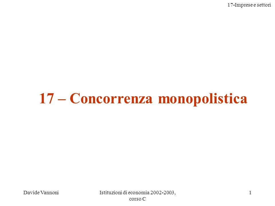 17-Imprese e settori Davide VannoniIstituzioni di economia 2002-2003, corso C 1 17 – Concorrenza monopolistica