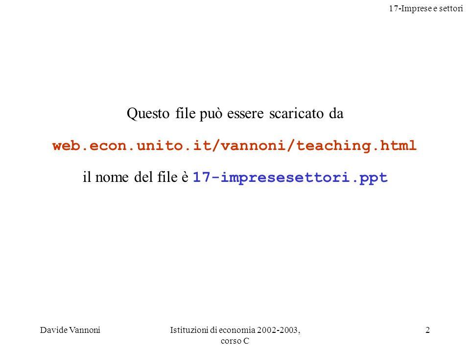 17-Imprese e settori Davide VannoniIstituzioni di economia 2002-2003, corso C 2 Questo file può essere scaricato da web.econ.unito.it/vannoni/teaching.html il nome del file è 17-impresesettori.ppt