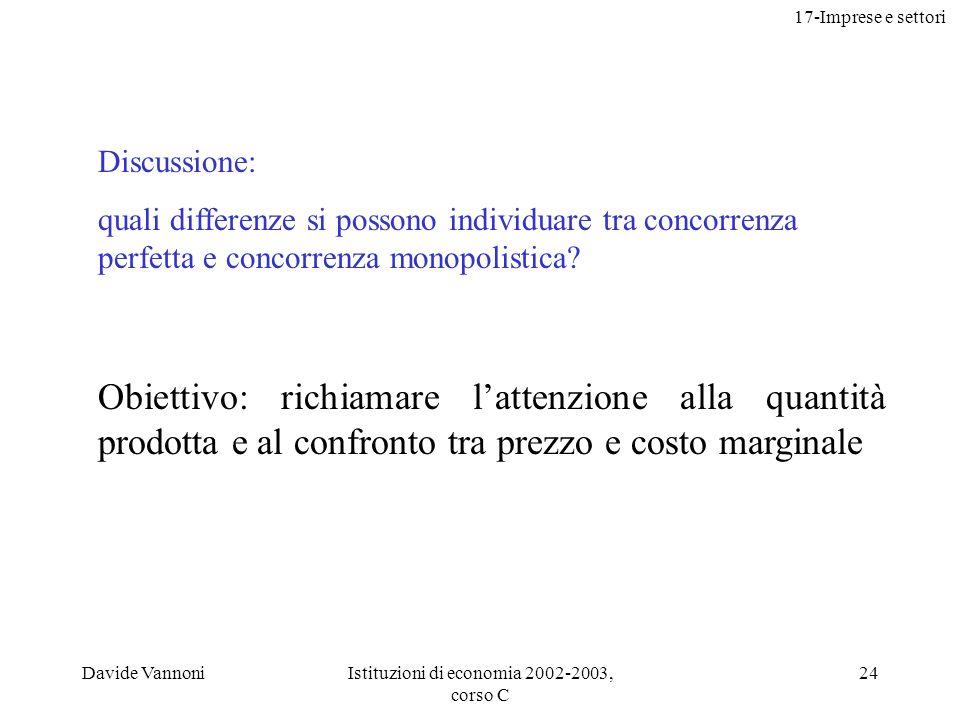 17-Imprese e settori Davide VannoniIstituzioni di economia 2002-2003, corso C 24 Discussione: quali differenze si possono individuare tra concorrenza perfetta e concorrenza monopolistica.