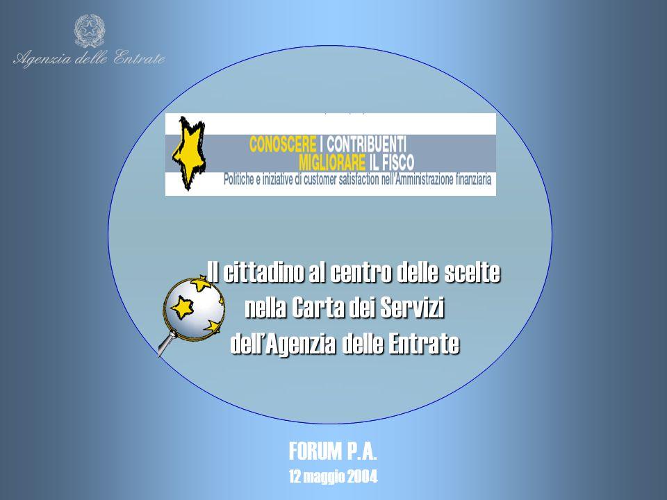 Il cittadino al centro delle scelte nella Carta dei Servizi nella Carta dei Servizi dellAgenzia delle Entrate dellAgenzia delle Entrate FORUM P.A.
