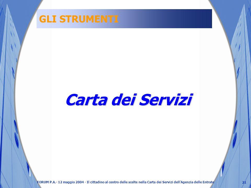 21 FORUM P.A.- 12 maggio 2004 - Il cittadino al centro delle scelte nella Carta dei Servizi dellAgenzia delle Entrate GLI STRUMENTI Carta dei Servizi