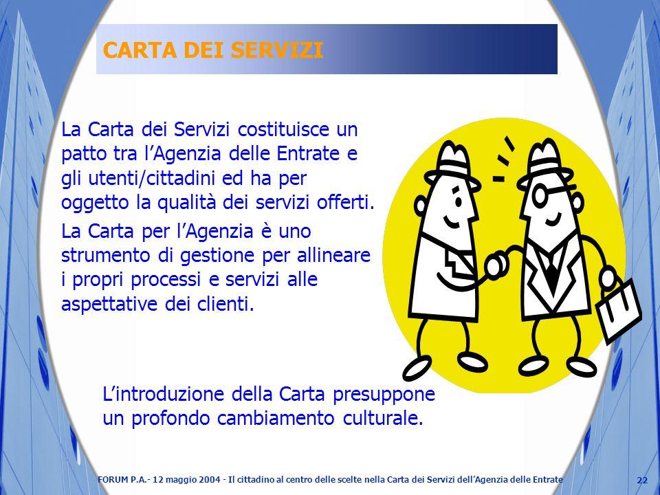 22 FORUM P.A.- 12 maggio 2004 - Il cittadino al centro delle scelte nella Carta dei Servizi dellAgenzia delle Entrate CARTA DEI SERVIZI La Carta dei Servizi costituisce un patto tra lAgenzia delle Entrate e gli utenti/cittadini ed ha per oggetto la qualità dei servizi offerti.