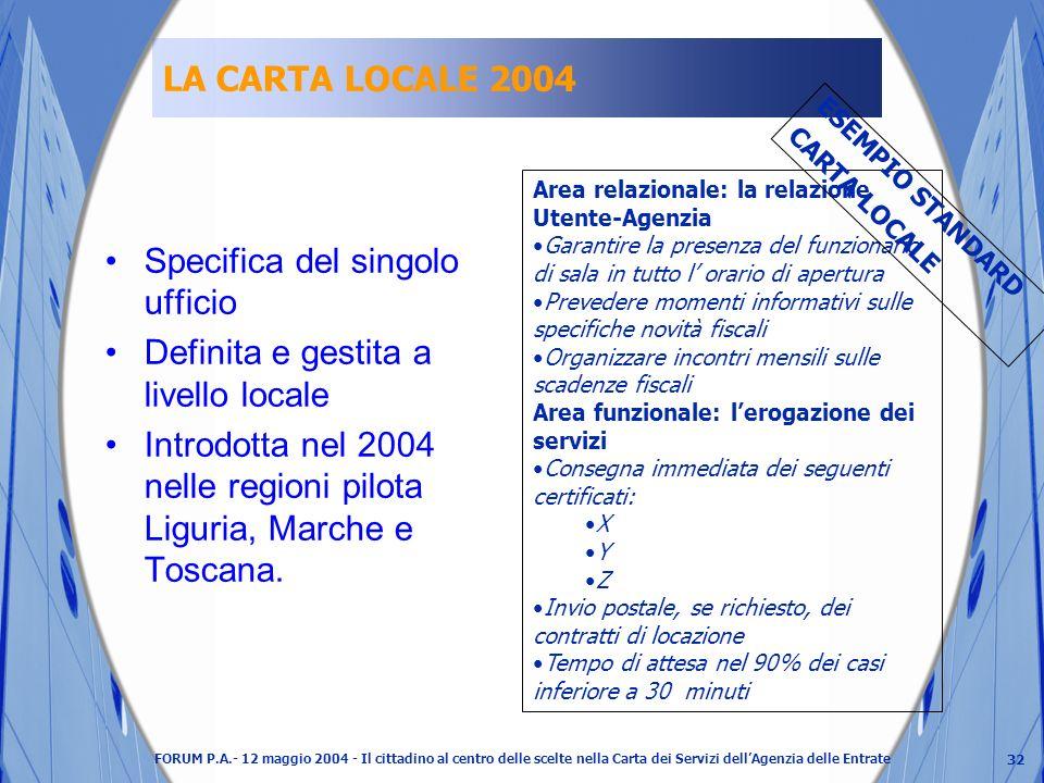32 FORUM P.A.- 12 maggio 2004 - Il cittadino al centro delle scelte nella Carta dei Servizi dellAgenzia delle Entrate LA CARTA LOCALE 2004 Specifica del singolo ufficio Definita e gestita a livello locale Introdotta nel 2004 nelle regioni pilota Liguria, Marche e Toscana.